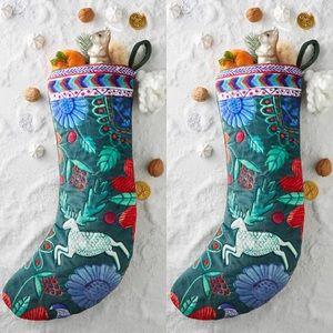 Anthropologie Velvet Celtic Christmas Stocking